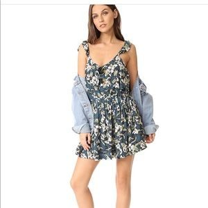 Free people dear you mini dress blue combo med NEW